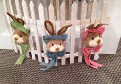Bunny heads with burlap hats and bows....coming to Trendy Tree soon!  http://www.trendytree.com/burton-and-burton/hanging-bunny-head-with-burlap-hat-and-bow-assorted.html