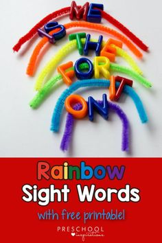 Make an easy busy bag for kindergarten and preschoolers - rainbow sight words! It's great for fine motor practice, visual discrimination, and of course, sight words or spelling words! Easy for teachers or parents to use as a homeschool quiet time activity. Don't miss the free printable rainbow sight word cards! Rainbow Activities, Quiet Time Activities, Spelling Activities, Sight Word Activities, Preschool Activities, Learning Sight Words, Learning To Write, Fun Learning, Free Preschool