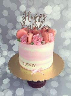 Pink Buttercream cake with macaroons