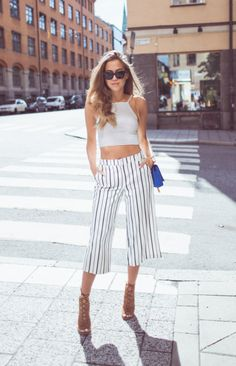 justthedesign:  Vertical striped culottes and a horizontal striped crop top. What could be more on point ? Via Kenza ZouitenPants/Shoes: River Island, Top: Topshop