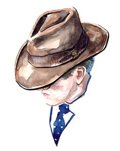 When it comes to hats Goorin is the first company that comes to mind. By Sunflowerman #sunflowerman #men #fashion #illustration #watercolor