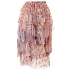 Burberry Prorsum Tiered Cobweb Tulle Skirt via Polyvore