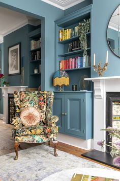 Colour, pattern and some quirky finds have turned a long, narrow living room into a multifunctional space. Find out how this sitting room came to life for one family. Bold Living Room, Narrow Living Room, Colourful Living Room, Living Room Colors, Home And Living, Living Room Designs, Long Narrow Bedroom, Living Room Colour Design, Murs Turquoise