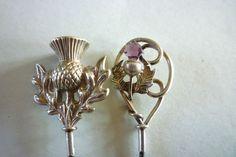 TWO ANTIQUE STERLING SILVER SCOTTISH THISTLES HAT PINS HM.1907 BIRMINGHAM V.G.C
