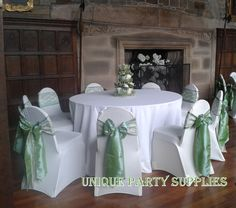 Sage green taffeta and ivory lace sashes