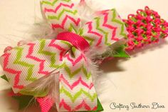 Pink and Green Summer Hair Bow on Headband - $8