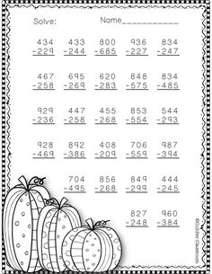 Need extra subtraction practice? These ten pages focus on three-digit subtraction. Most problems require regrouping. No prep, just print and go. Christmas Math Worksheets, Math Practice Worksheets, 2nd Grade Worksheets, Subtraction Worksheets, School Worksheets, Math Resources, Printable Worksheets, Second Grade Math, 4th Grade Math