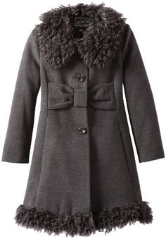 Rothschild Girls Fully Lined Wool Coat With Attached Hood (Black ...