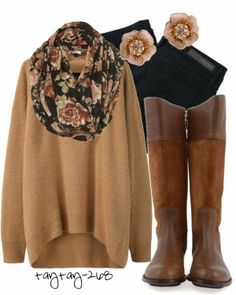 All Brown Fall Outfit With Long Boots