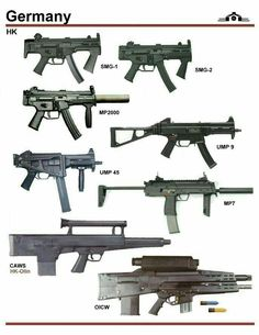 Germany HK sub machine guns, Weapons Guns, Guns And Ammo, Rifles, Future Weapons, Submachine Gun, Weapon Concept Art, Fire Powers, Assault Rifle, Cool Guns