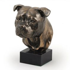 Staffordshire Bull Terrier dog marble statue by ArtDogshopcenter