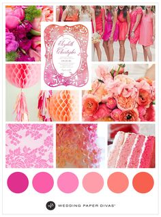 From luscious pink flowers to a colorful orange ómbre cake, pink and coral never looked so good together. Dress your bridesmaids in hues that are fun and bright, and add textures and patterns to your wedding theme for an eye-catching ceremony and reception with depth.