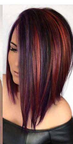121 chocolate brown and lilac hair looks - Hair Color Ideas Fall Hair Colors, Red Hair Color, Cool Hair Color, Color Red, Dark Hair With Color, Unique Hair Color, Balayage Bangs, Hair Color Balayage, Haircolor