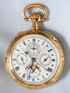 Audemars Repeater Perpetual Calendar Chronograph with Retrograde Lunar Hand - Bogoff Antique Pocket Watch # 8004