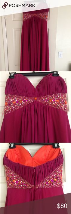 Pink strapless long strapless prom dress Worn once. Practically new- in perfect condition. Windsor Dresses Strapless
