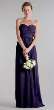 Jenny Yoo Margaux 1018 in Eggplant/Aubergine   Silk crinkle chiffon.....lots of colors to choose from