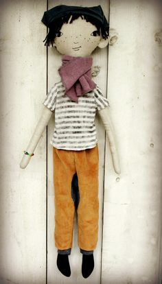 Handmade linen boy doll with embroidered by LolawithLoveDolls