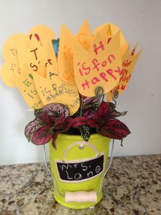 This is my daughter's end of year gift to her kindergarten teacher. She picked out a plant, and wrote a note on each 'flower' card spelling out teacher. We also included a little gift card.