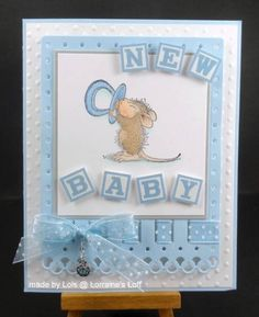 cute blue card. Monica with Pacifier
