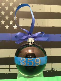 Thin Blue line Christmas Ornament law