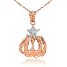 10k TwoTone Rose and White Gold DiamondAccented Star Islamic Allah Pendant Necklace 22 *** Check out this great product.