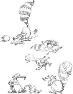 Scrat character design for Ice Age by Peter de Sève