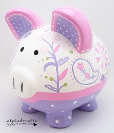 Simone in lavender and pink paisley personalized piggy bank — Alphadorable The Little Couple, Paisley, Personalized Piggy Bank, Cute Piggies, Money Box, Porcelain Ceramics, Nursery Art, Baby Shower Gifts, Just For You