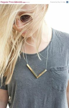 ON SALE Chevron Necklace Bar Necklace Minimalist by MyrrhJewelry, $75.60