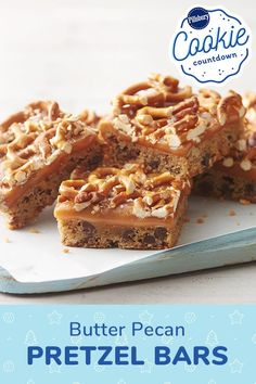 With a buttery cookie base and pecan and pretzel bits throughout, these ooey-gooey dessert bars strike the perfect balance between sweet and salty, while being totally delicious. Eat Dessert First, Pie Dessert, Cookie Desserts, Easy Desserts, Cookie Recipes, Delicious Desserts, Dessert Recipes, Bar Recipes, Recipies