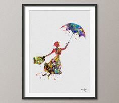Mary Poppins inspired Watercolor illustrations Art Print Wall Art Poster Giclee Wall Decor Art Home Decor Wall Hanging [NO 146]