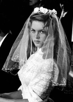 Brigette Bardot wedding - love the flowers on top of the veil