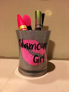 Makeup brush holder makeup holder vanity by Glitter Wine Glasses, Glitter Cups, Makeup Jars, Diy Makeup, Cup Crafts, Bottle Crafts, Make Up Storage, Makeup Brush Holders, Makeup Studio
