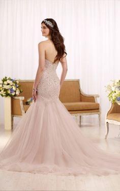 D2195 Fit and flare wedding dress with tulle skirt by Essense of Australia