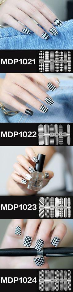 $4.99 14Pcs Nail Art Sticker Classical Black And White Dot Grid Stars Patterned - BornPrettyStore.com
