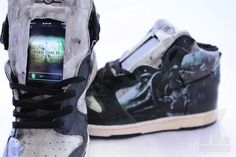 - The Fallout Vault Dweller Dunks by Jacob Patterson are the first shoes with a built-in iPod Touch. These custom sneakers are absolutely badass and . Ipod Touch, Ugg Shop, Vault Dweller, Pip Boy, Fallout 3, Fallout Vault, Uggs For Cheap, Sheepskin Boots, Nike Dunks