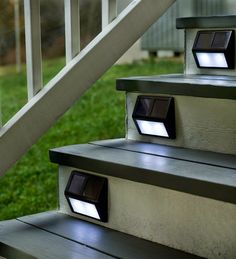 solar step lights. Idea for inside, too... if I ever add a room above the garage (electric, of course).