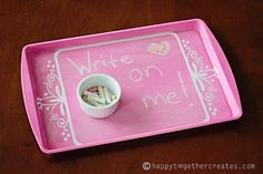 Chalkboard Tray DIY out of an old baking pan...How nice for Mothers Day, Fathers Day, Anniversarys, Valentines Day or Birthdays!!!!   use with the DIY chalkboard paint I pinned in craft ideas board! The possibilities are endless on this one!