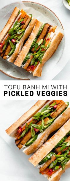This tofu banh mi sandwich is a take on the vietnamese classic that features lemongrass baked tofu, picked veggies, and vegan mayo on a baguette! Tofu Recipes, Asian Recipes, Vegetarian Recipes, Cooking Recipes, Healthy Recipes, Vegetarian Bahn Mi, Vegetarian Sandwiches, Going Vegetarian, Vegetarian Breakfast