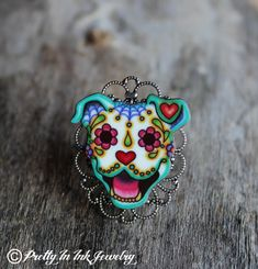Happy Dog Day of the Dead Pitbull Adjustable Ring