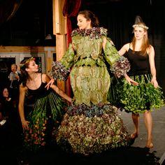 Nicole Dextras 'Hydrangea Debutante' Weedrobes- Summer 2010- laurel & magnolia leaves, hydrangea flowers