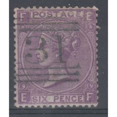 GB Victoria 1870 6d Mauve SG 109 used plate 9 Catalogue Value £90 Listing in the Queen Victoria,Great Britain,Stamps Category on eBid United Kingdom | 144831258