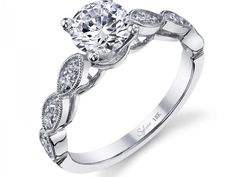 Lady's White 18 Karat Engagement Ring Size 6.5 With One 1.00Ct R Cubic Zirconium And 0.36Tw Round Diamonds | Diamond Engagement Rings from Studio 2015...