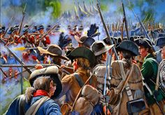 Continental Army and minutemen militias engaging British Highlanders and Hessian Grenadiers