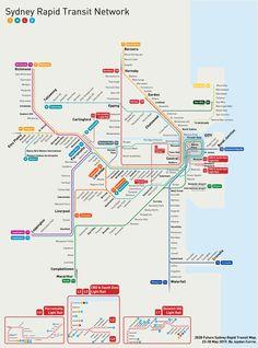 My Redesigned Future Rapid Transit Map for Sydney. Whaddya think? Sydney Map, Sydney Metro, Australia Map, Sydney Australia, Train Map, Metro Rail, Subway Map, Rapid Transit, Corporate Identity Design