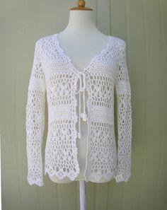 white crochet cardigan tie front