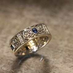 14k White Gold Celtic Wedding Band Diamond and by LaMoreDesign