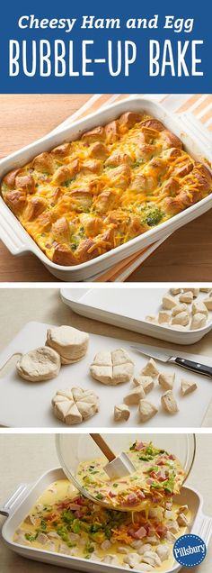 Cheesy Ham and Egg Bubble-Up Bake - Our newest cheesy egg bake is great for breakfast or dinner or both (we won't judge!). It is THAT good. An easy prep with ham, broccoli, biscuits and cheese. Perfectly delicious for brunch for a crowd!