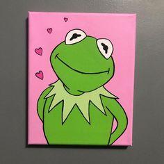 Kermit the Frog Acrylic Canvas Painting - kermit painting - - Kermit the Frog Acrylic Canvas Painting – kermit painting Drawing ✍️ Kermit der Frosch Acryl Leinwand Malerei – Kermit Malerei Small Canvas Paintings, Easy Canvas Art, Small Canvas Art, Cute Paintings, Easy Canvas Painting, Mini Canvas Art, Acrylic Canvas, Easy Art, Canvas Ideas