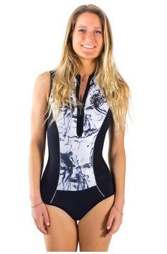 Diving  buy popular d86e7 45b4e Combinaison de surf en néoprène sans  manches noir et marbre ... 733273765