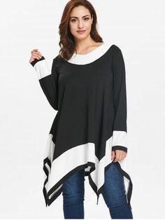 Plus Size Long Sleeve Handkerchief Tunic Top - BLACK - 5X Handkerchief  Dress 21b6b0ade846